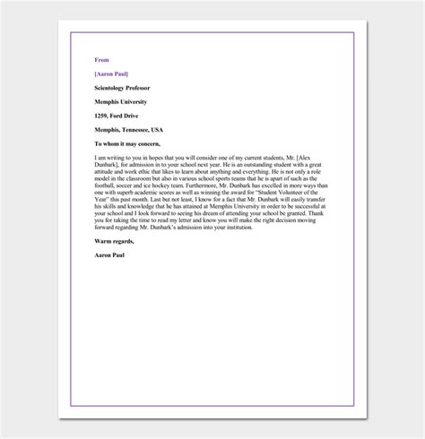 Recommendation Letter Sle Graduate School From Professor Letter Of Recommendation For A Graduate School 5 Sle Letters