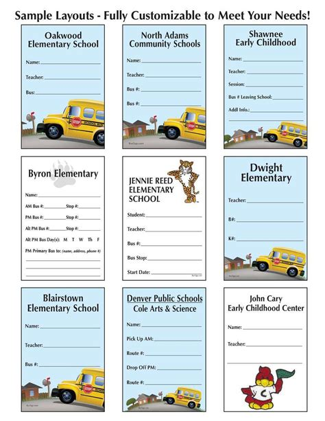 printable bus tags for students bus tag student id tags custom layout