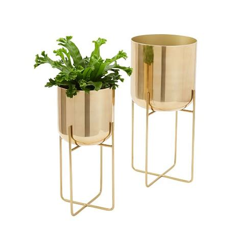 Sleek Kitchen Designs Spun Metal Standing Planter Brass West Elm