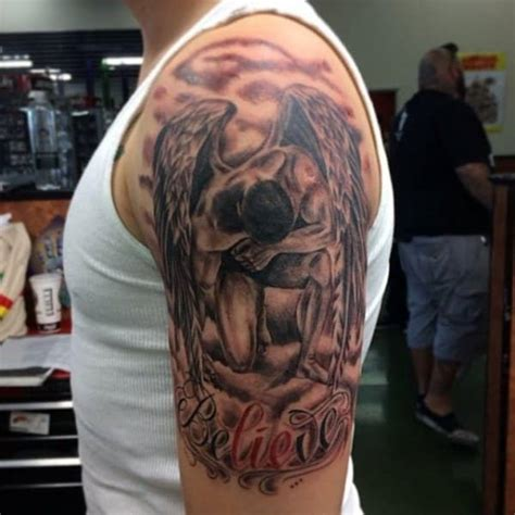 quarter sleeve tattoo with words half sleeve tattoos for men ideas and designs for guys