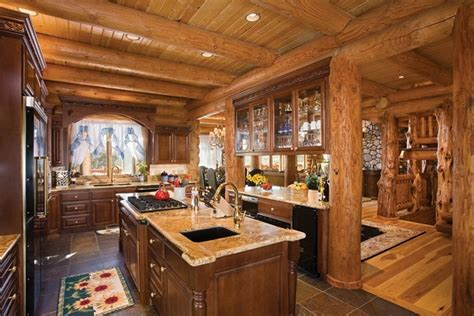 log home kitchen design ideas интерьер кухни в деревянном доме