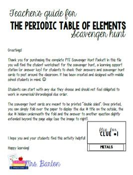 periodic table scavenger hunt worksheet answer key periodic table of elements scavenger hunt packet by