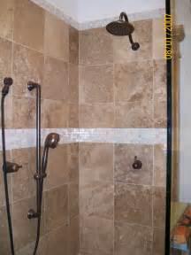 bathroom tiles ceramic tile: ceramic tiled shower with iridescent glass listello oil rubbed