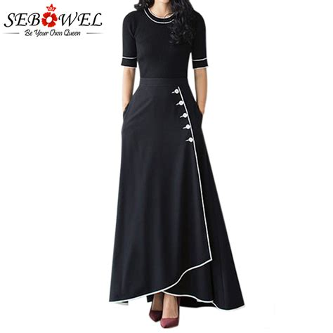 Highwaist Button Black Office Skirt sebowel 2018 black a line maxi skirt high waist piped