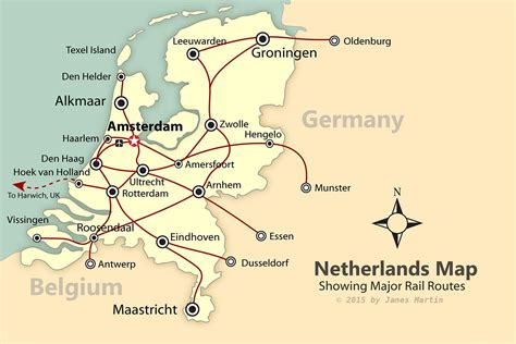 netherlands line map netherlands map showing rail lines and tourist cities