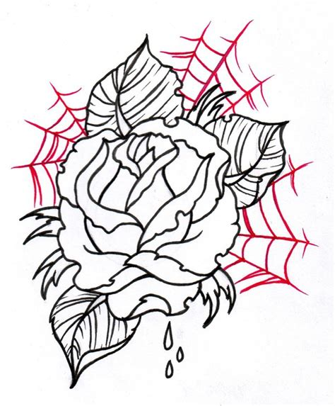 rose with spider web tattoo outline and spider web design