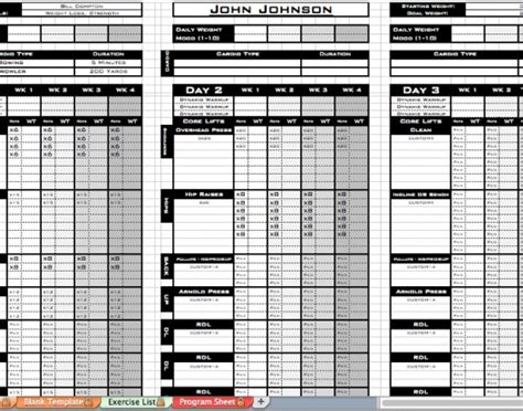 free personal training excel templates workout sheet