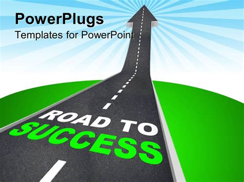 Powerpoint Template Road Patterned Arrow Going Up To The Sky With Road To Success Words Microsoft Powerpoint Templates Road