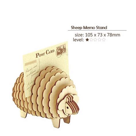 Kigumi 3d Puzzle Kayu Standing Cat Puzzle 3d kigumi 3d wooden puzzle sheep memo card stand