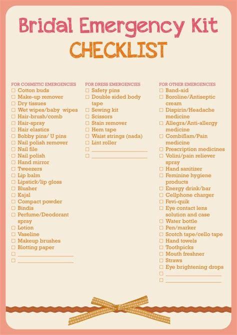 Wedding Emergency Checklist Kit by 1000 Ideas About Bridal Emergency Kits On