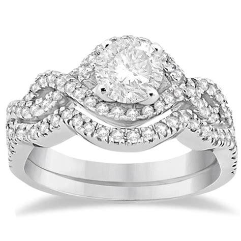 infinity engagement ring set infinity halo engagement ring band set palladium