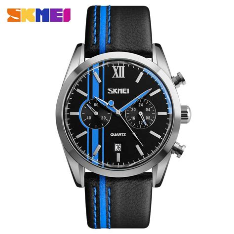 Skmei Casual Leather 9086cl Hitam jual jam tangan pria skmei analog casual leather original 9148cl biru