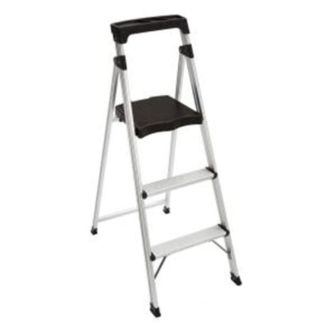 Home Depot Step Stool by Easy Reach By Gorilla Ladders 3 Step Aluminum Ultra Light Step Stool Ladder With 225 Lb Load