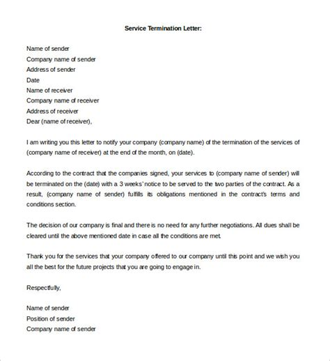 termination letter for services free termination letter template 14 free word documents