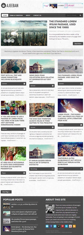 ajeeban free responsive wordpress theme for blog responsive wordpress themes 10 fresh free themes