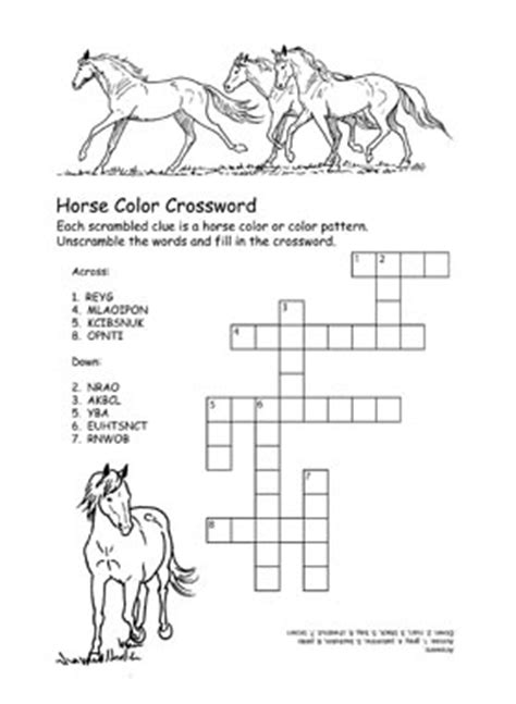 horse color pattern crossword puzzles and more
