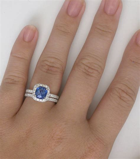 Cushion Cut Wedding Band Cushion Ceylon Sapphire And Diamond Halo Engagement Ring