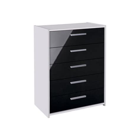 Black And White Gloss Chest Of Drawers by Buy Home New Sywell 5 Drawer Chest White Black Gloss
