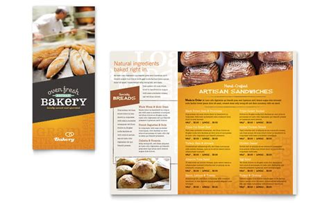 bakery brochure template artisan bakery take out brochure template word publisher