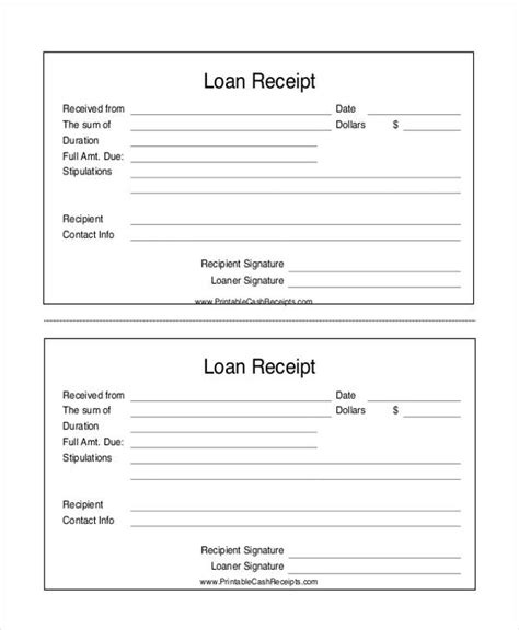 17 Loan Receipt Templates Free Sle Exle Format Download Free Premium Templates Bank Loan Template