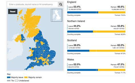 map uk eu referendum map of united kingdom shows voter divide after eu