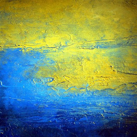 blue and yellow abstract painting sirius the brightest glow in the sky painting by