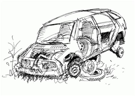 coloring pages crashed cars sunday sketch the mortality of cars streets mn