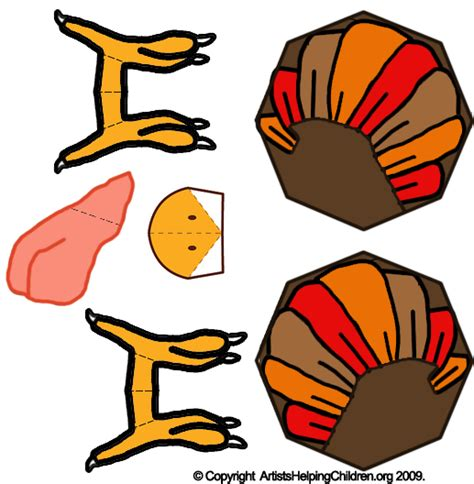 Turkey Papercraft - printable template turkey craft