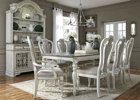 white dining room set magnolia manor antique white 108 quot extendable rectangular