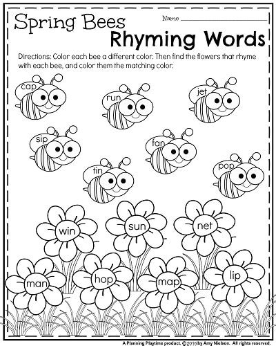 Rhyming Worksheets For Kindergarten