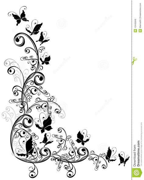 butterfly and floral ornament element for design stock