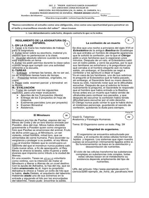 examen primero de secundaria primer bimestre examen espa 241 ol primero de secundaria primer bimestre pdf