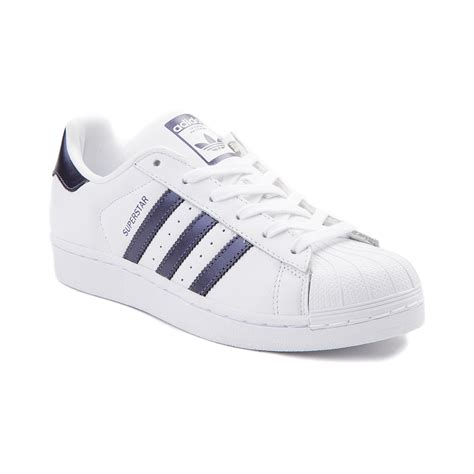 womens adidas superstar athletic shoe whitepurple metallic 436506