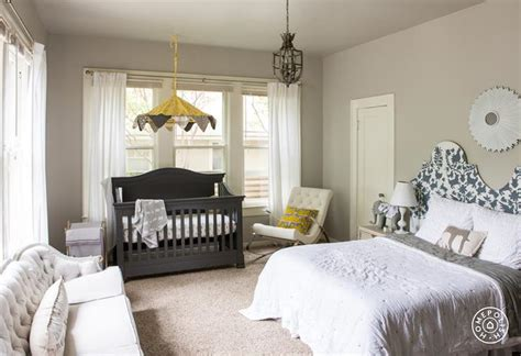 nursery in master bedroom crib in master bedroom transitional bedroom