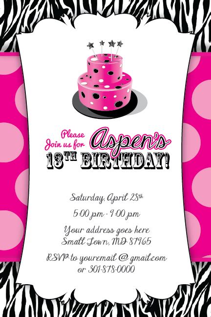 13th birthday invitation templates free zebra print cake invitation 13th birthday baby