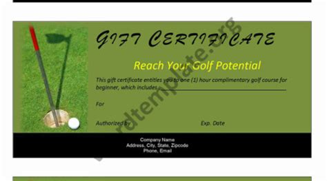 golf gift card template free microsoft word templates