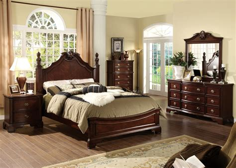english style bedroom furniture 5 pc carlsbad formal and stylish dark cherry finish wood