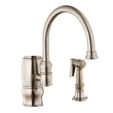 foret kitchen faucet foret traditional single handle kitchen faucet side spray in brushed nickel pppab avi
