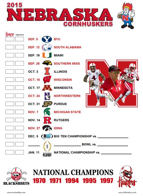 Printable Nebraska Volleyball Schedule | 2015 printable schedule huskermax