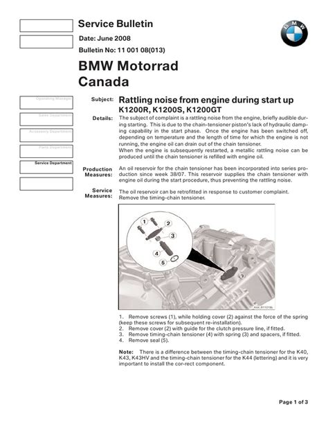 bmw service bulletins k1200 timing chain tensioner attachment service bulletin