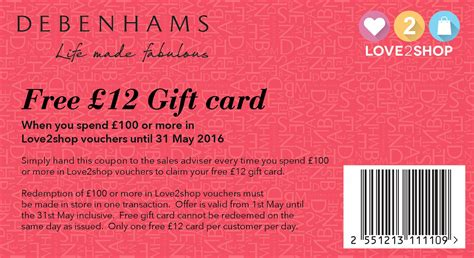 discount vouchers debenhams free 163 12 gift card with your love2shop vouchers