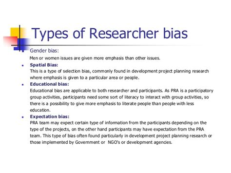 design bias meaning overcoming researcher bias in participatory rural appraisal