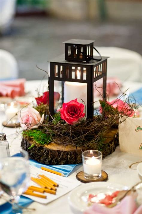 lantern centerpieces my wood slice lantern centerpieces weddingbee photo gallery