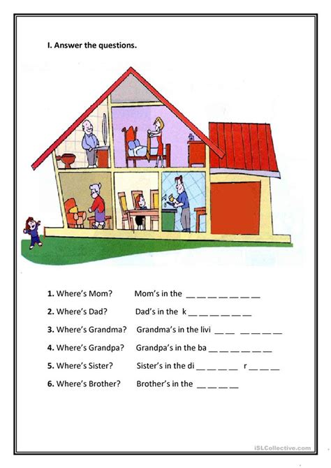 parts of the house worksheet free esl printable