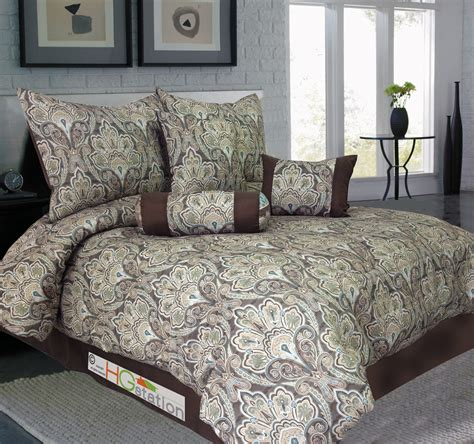 7 pc jacquard french floral damask comforter set light