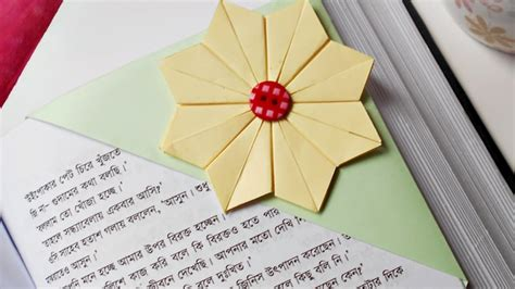 Origami Flower Bookmark - how to make beautiful origami flower bookmark diy diy