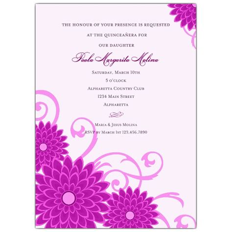 invitations for a quinceanera templates dahlias purple quinceanera invitations paperstyle