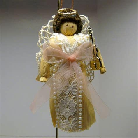 corn husk doll ornaments ornament corn husk doll with violin pink