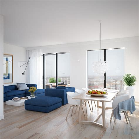 Hardwood Floor Apartment Cool Blue Apartment Open Plan Living Dining With Minimal Window Treatments And Wood