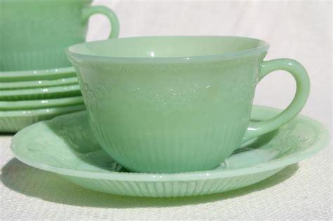Alice jadeite glass cups & saucers, vintage Fire King